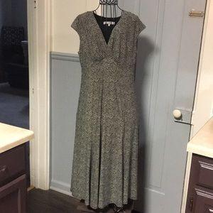 Evan-Picone Cream & Black Print Dress